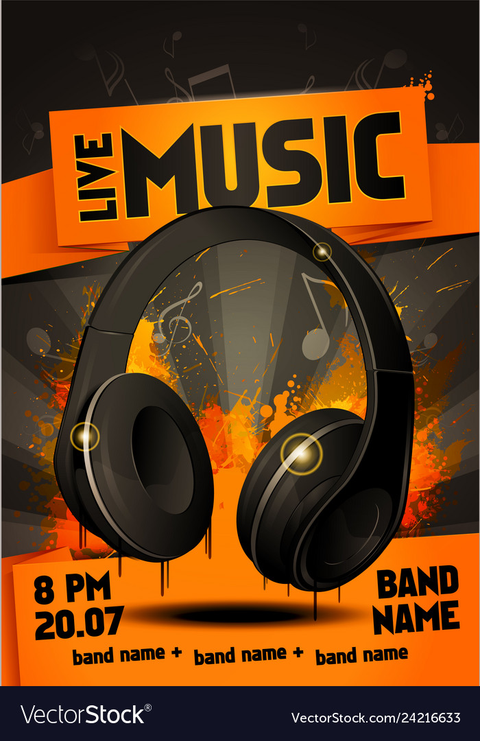 Live electro music party poster with headphones