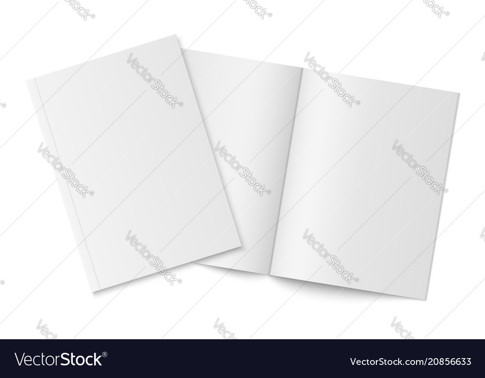 Mockup of two thin books with soft cover isolated