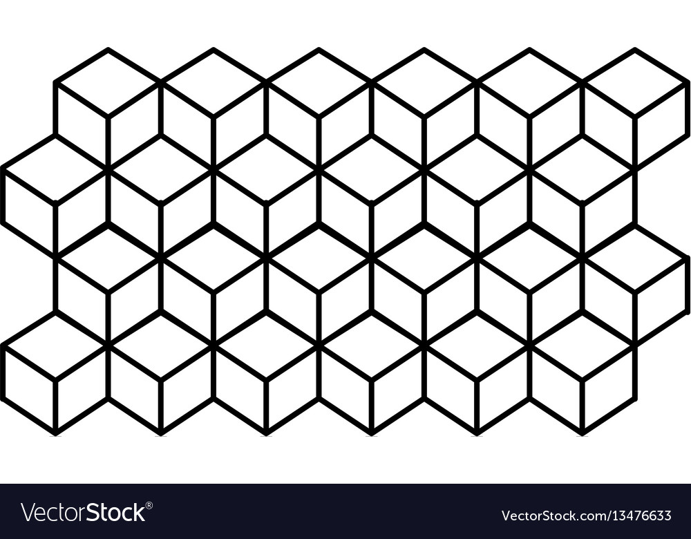 Monochrome contour line with hexagon pattern vector image
