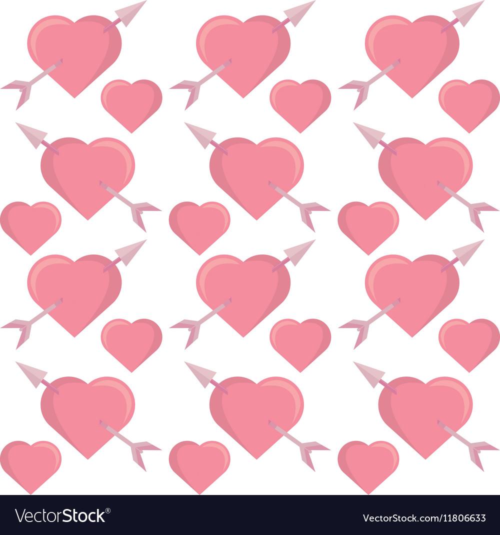 Pink hearts arrows seamless pattern design