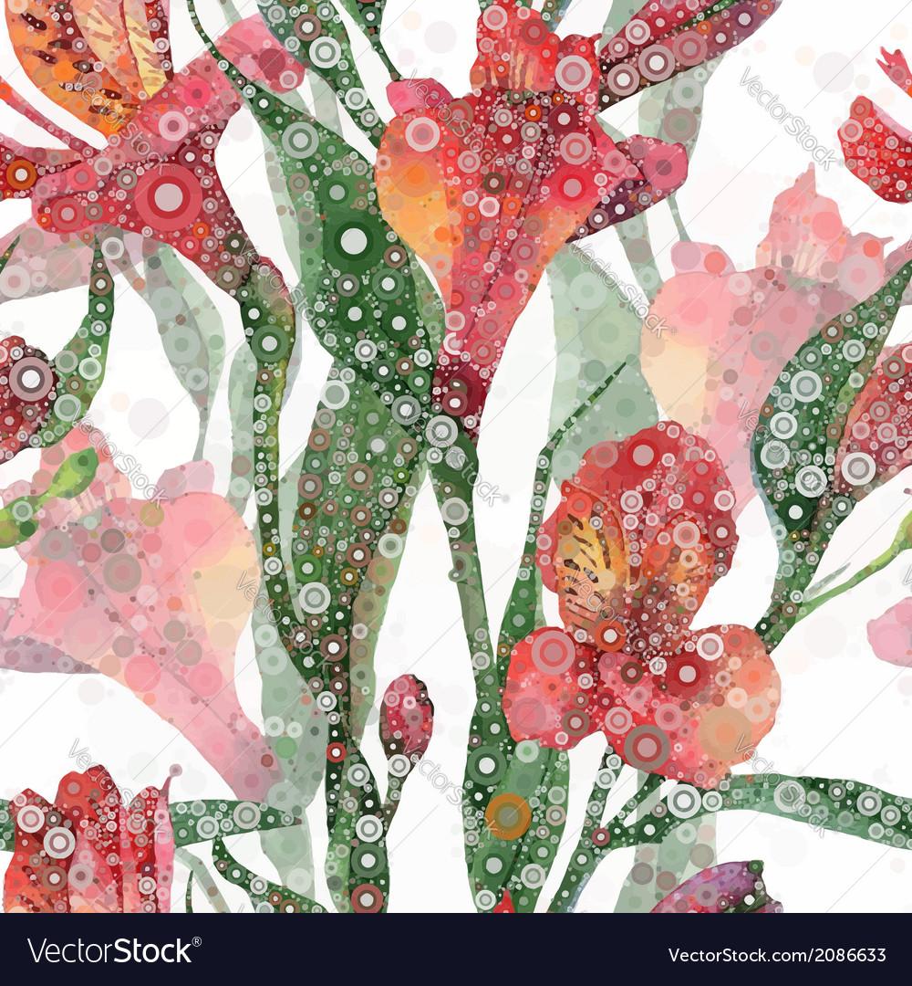 Seamless background Red alstroemeria