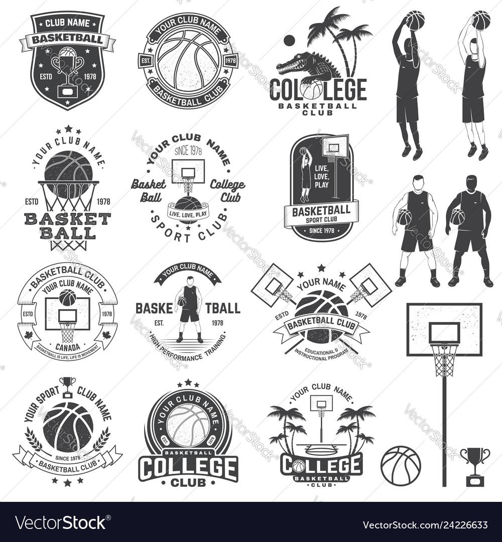 Set of basketball college club badge