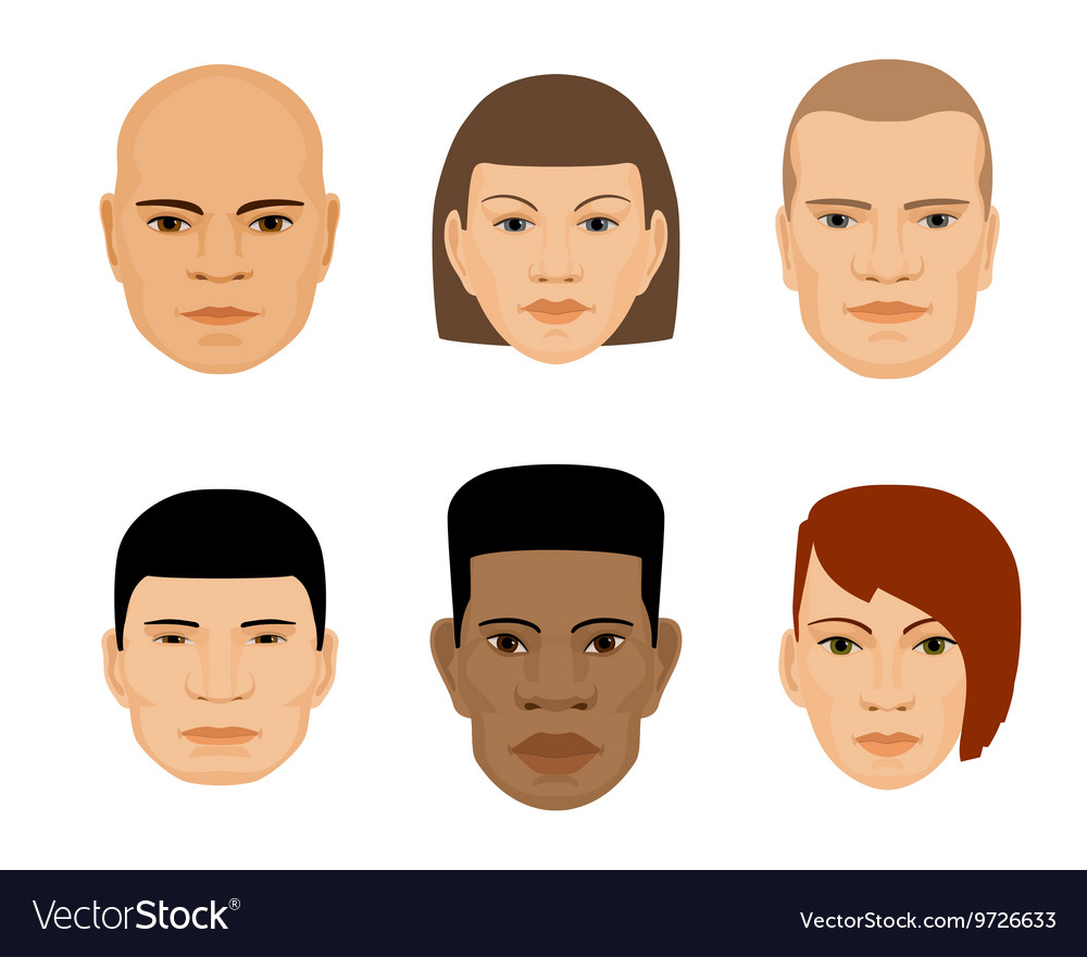 Set of human faces different gender and ethnicity