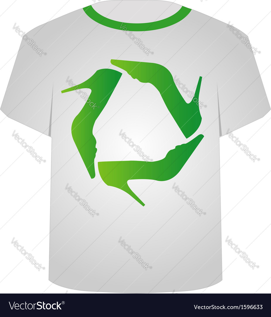 t shirt template recycle shoes royalty free vector image