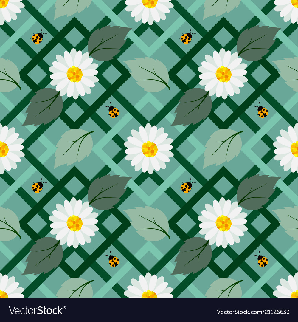 White flowers seamless repeat pattern with ladybug