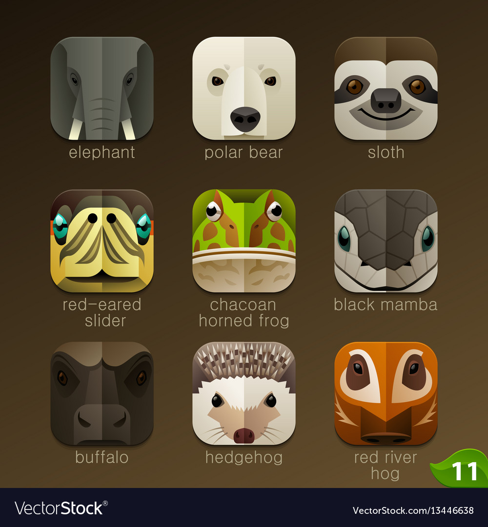Animal faces for app icons-set 11