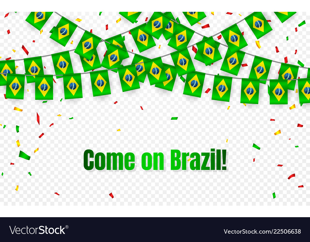 Brazil garland flag with confetti on transparent