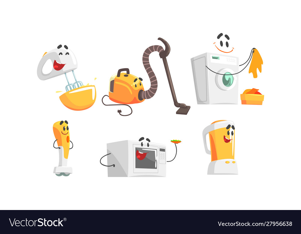 Cartoon smiling household appliances doing