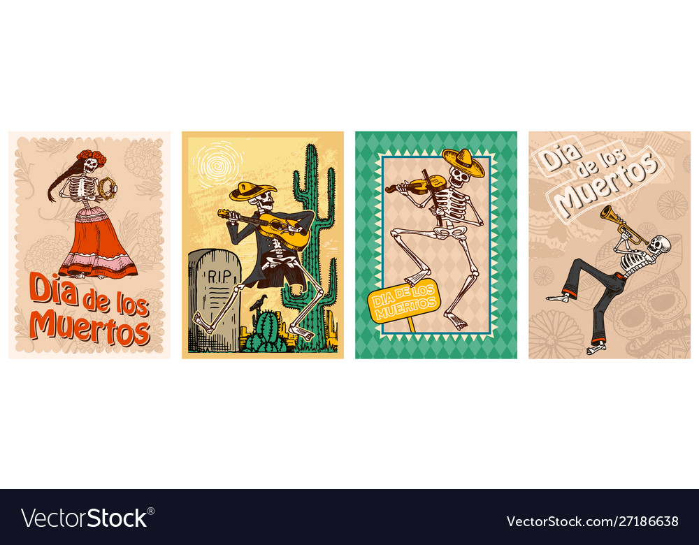 Day dead posters on a colored background