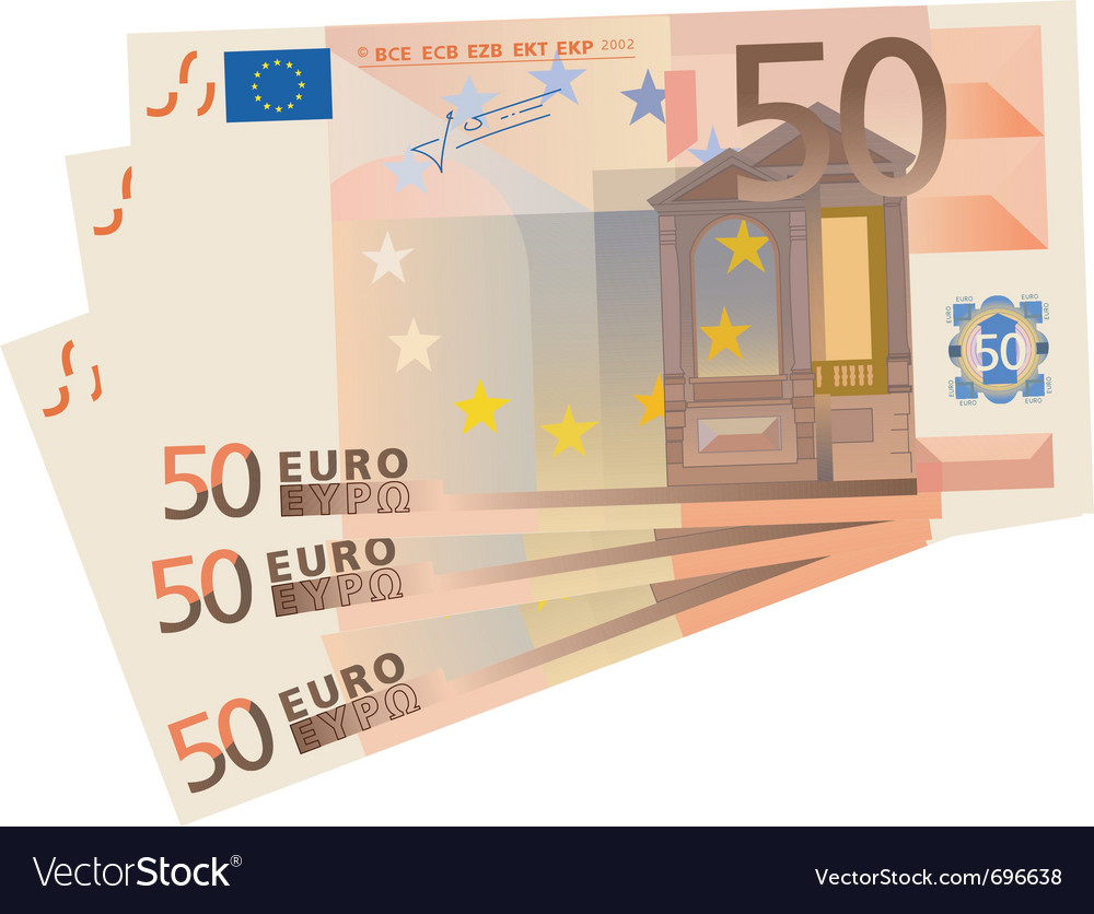 Drawing of a 3x 50 euro bills isolated