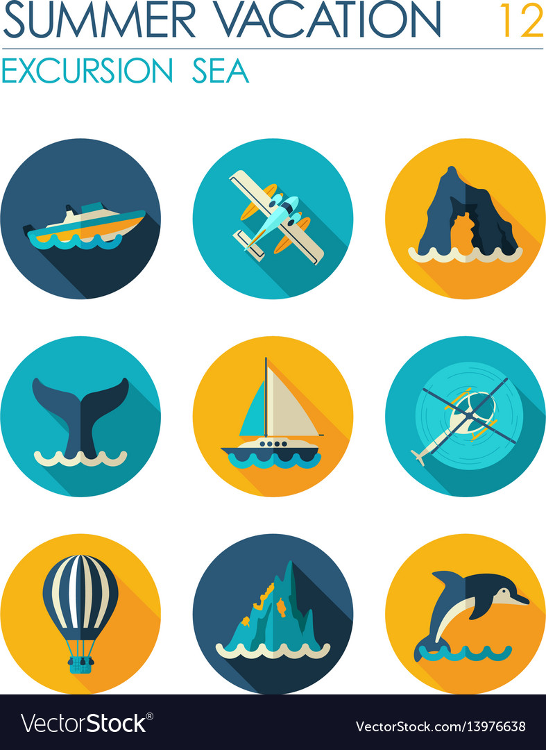 Excursion sea flat icon set summer vacation