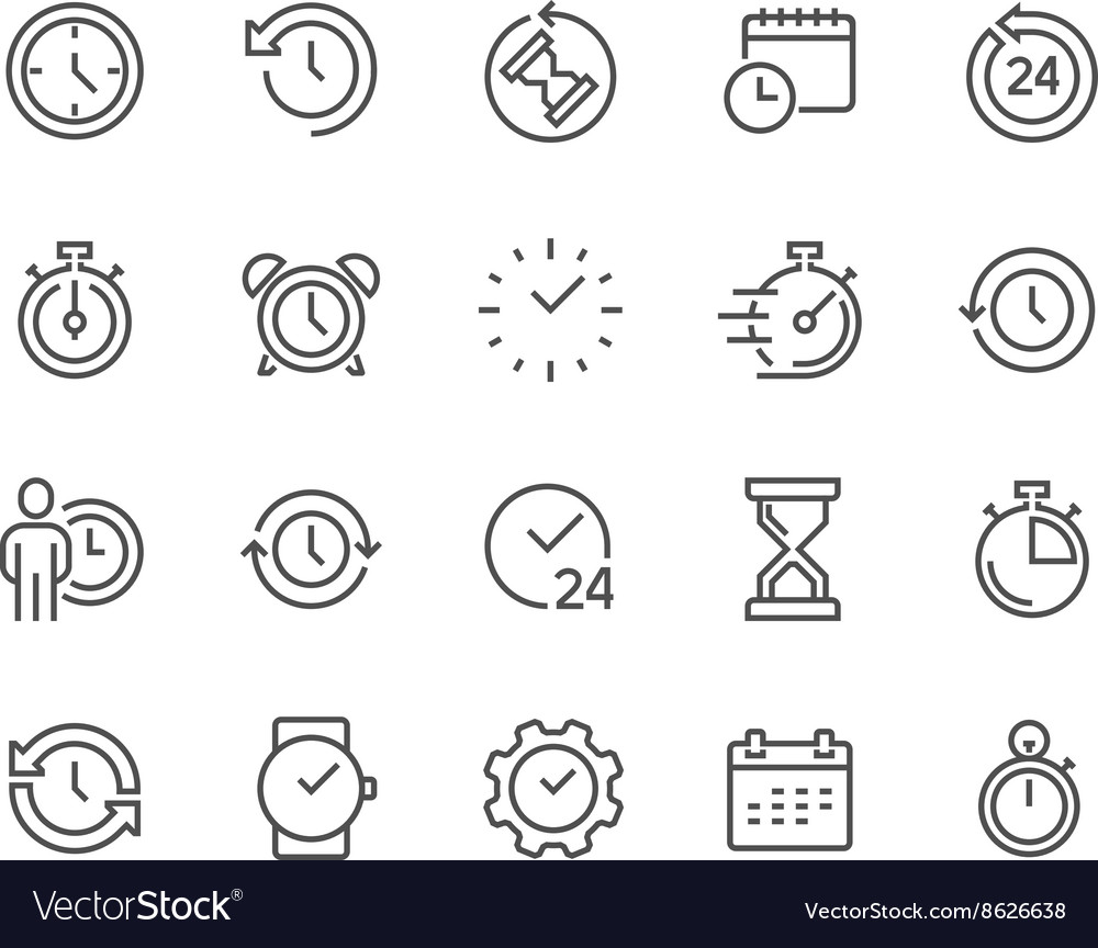 Line Time Icons vector image