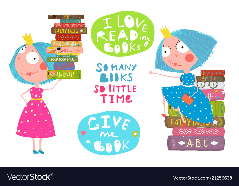 Little Girls Love Reading Books Quotes Royalty Free Vector