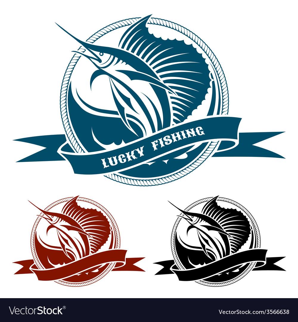 Nautical retro label with jumping sail fish vector image