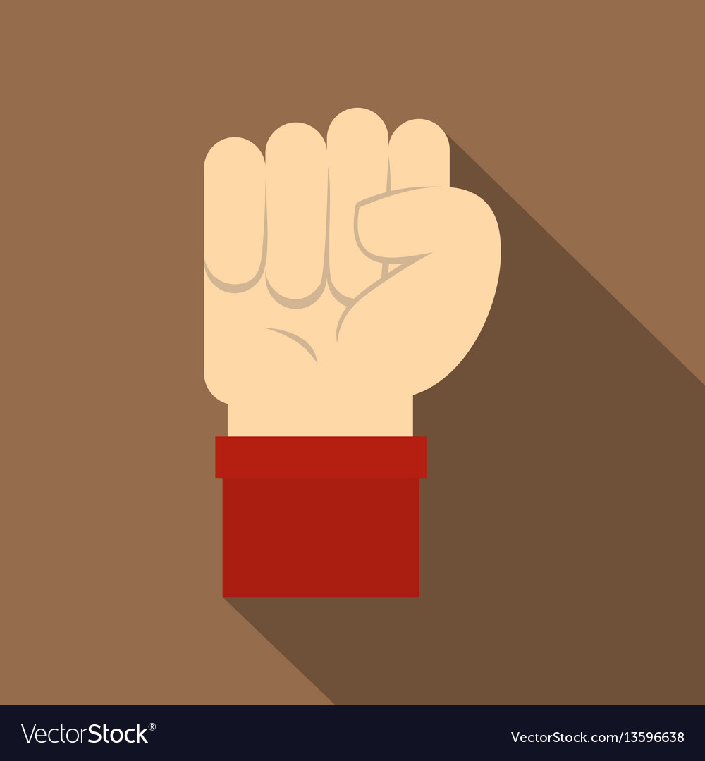 Raised up clenched male fist icon flat style