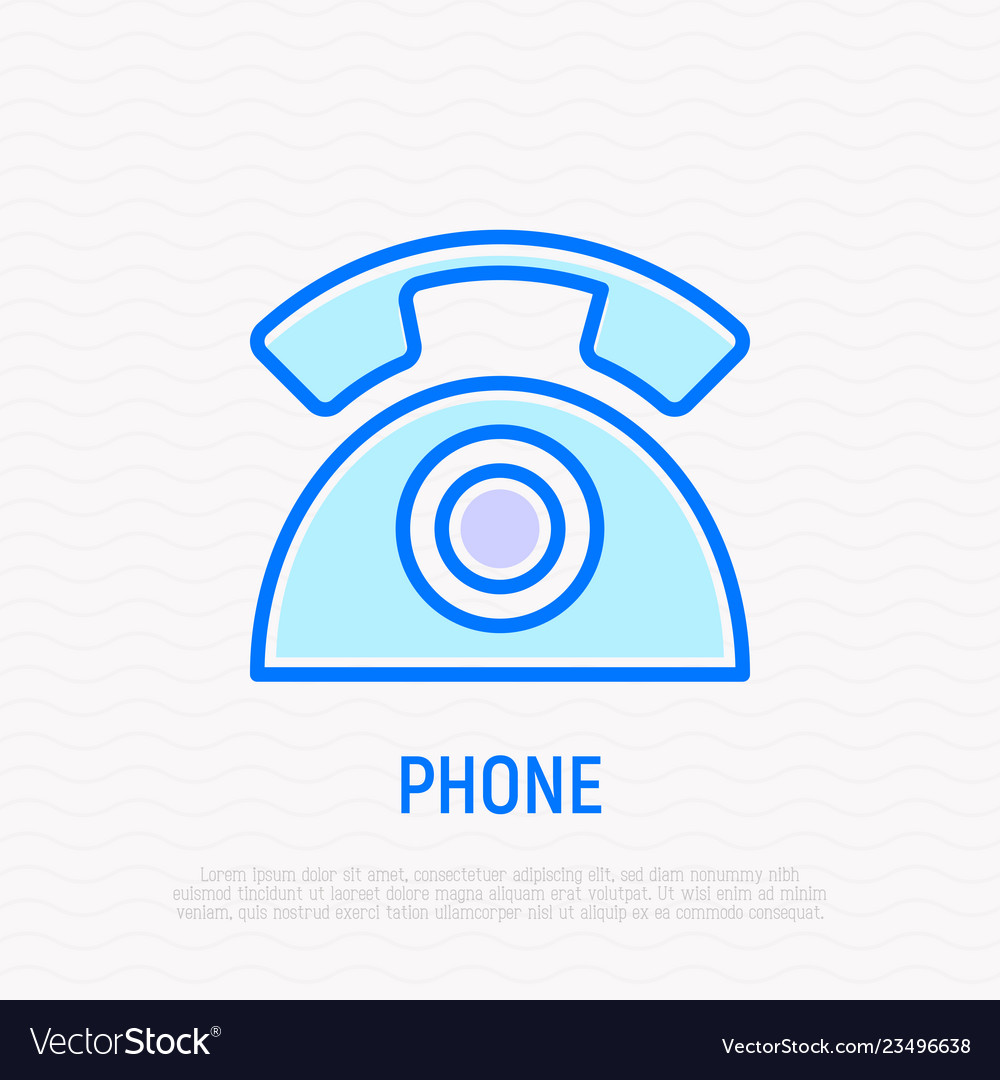 Retro telephone thin line icon