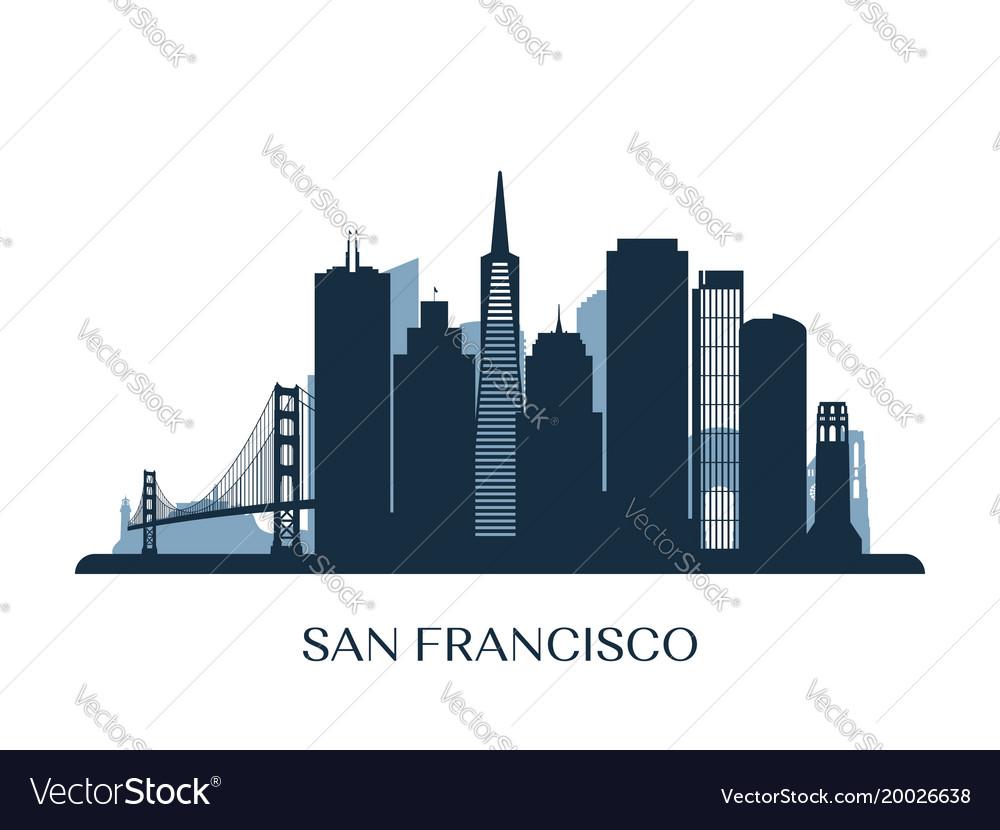 san francisco skyline monochrome silhouette vector image