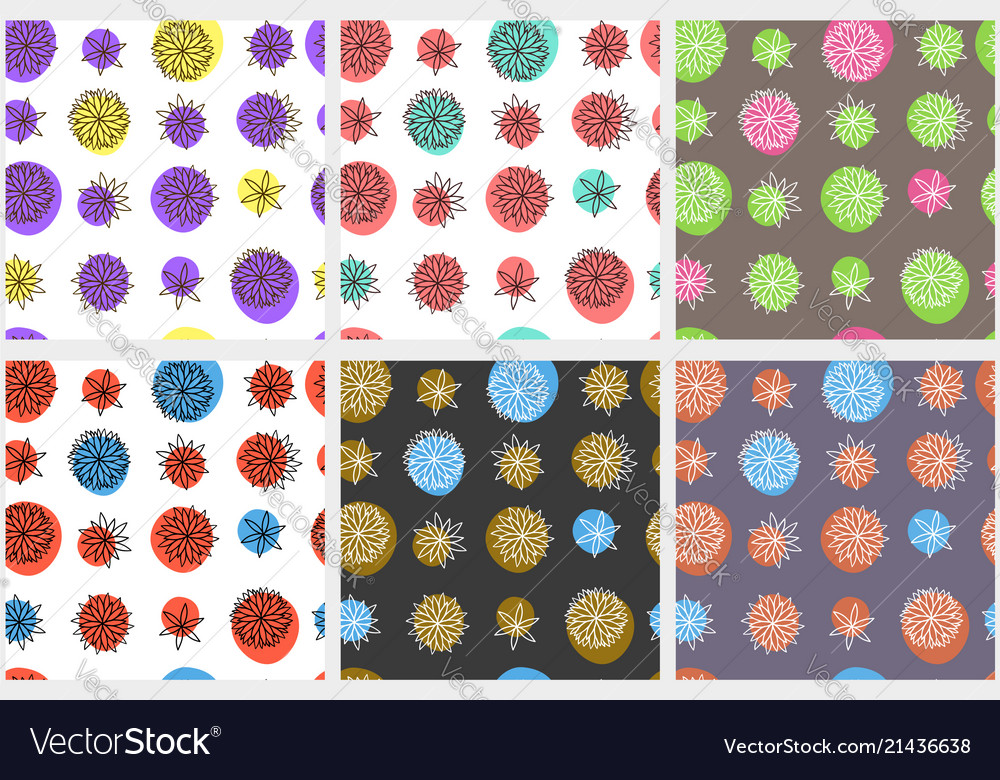 Seamless abstract floral patterns in naive style