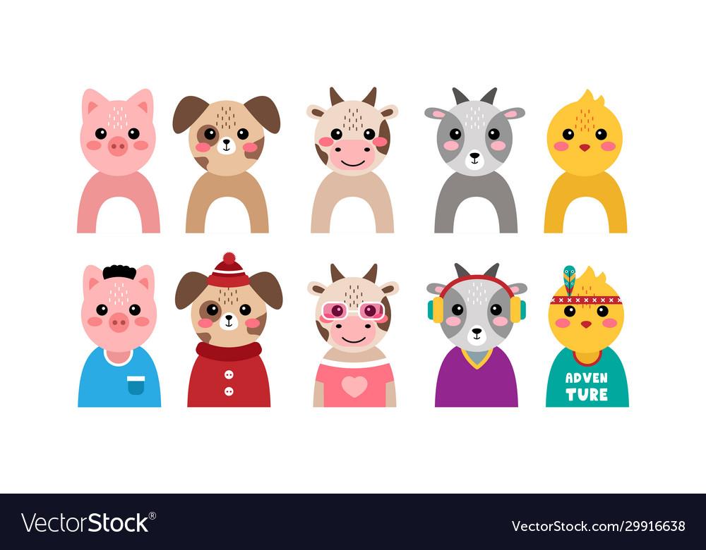 Set kawaii animal portraits
