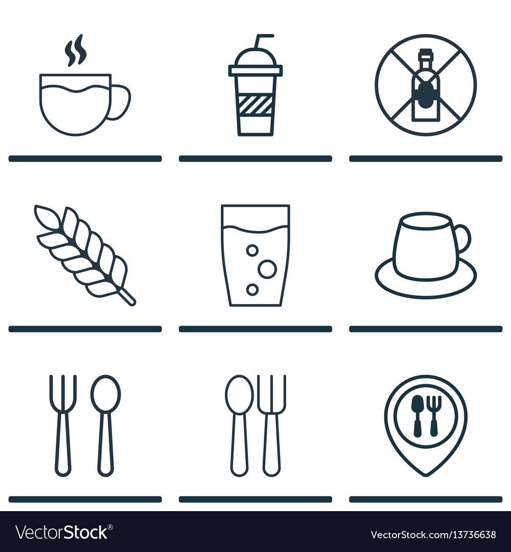 Set of 9 restaurant icons includes soda soda