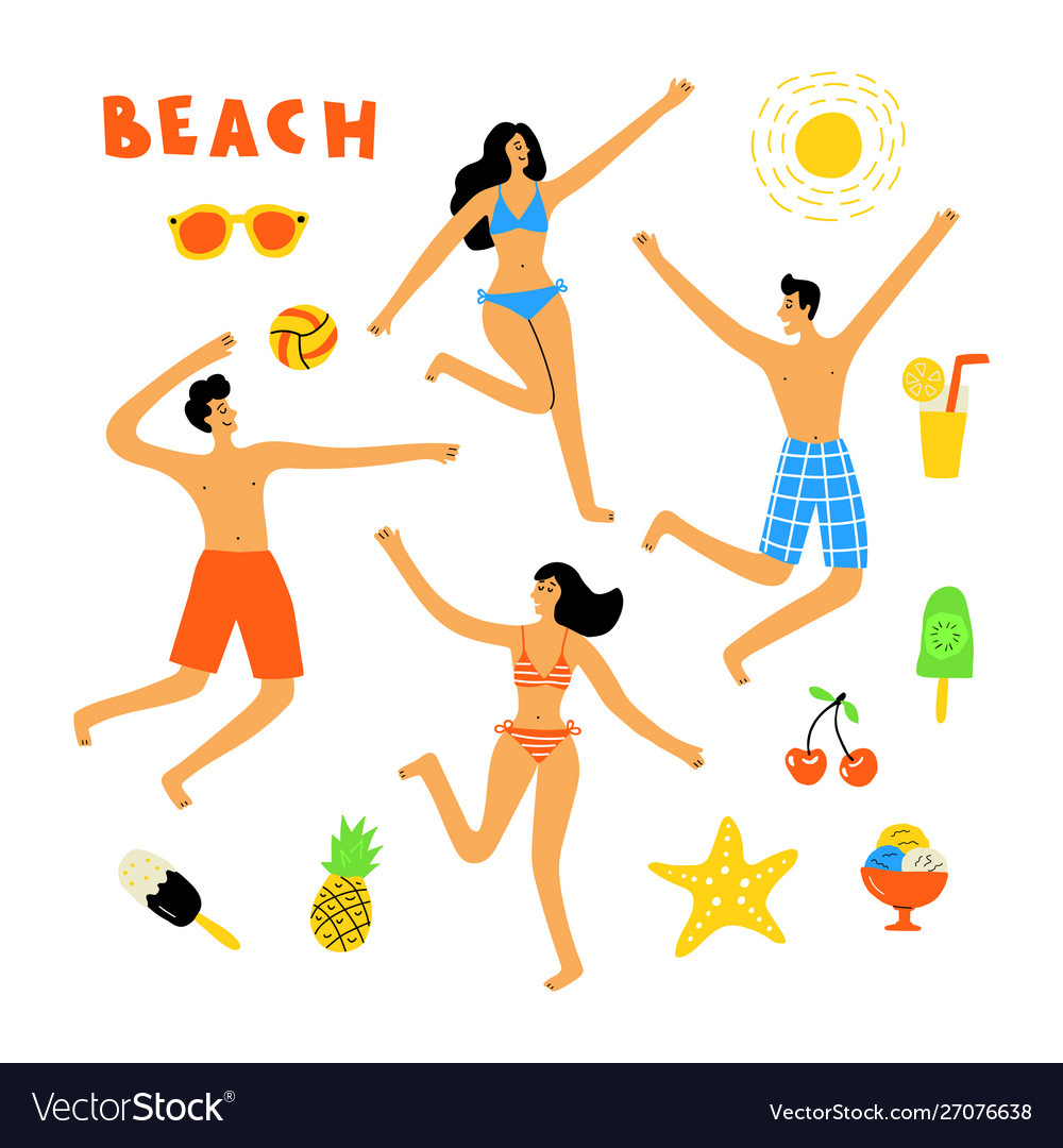 Summer lifestyle people at beach cute doodle