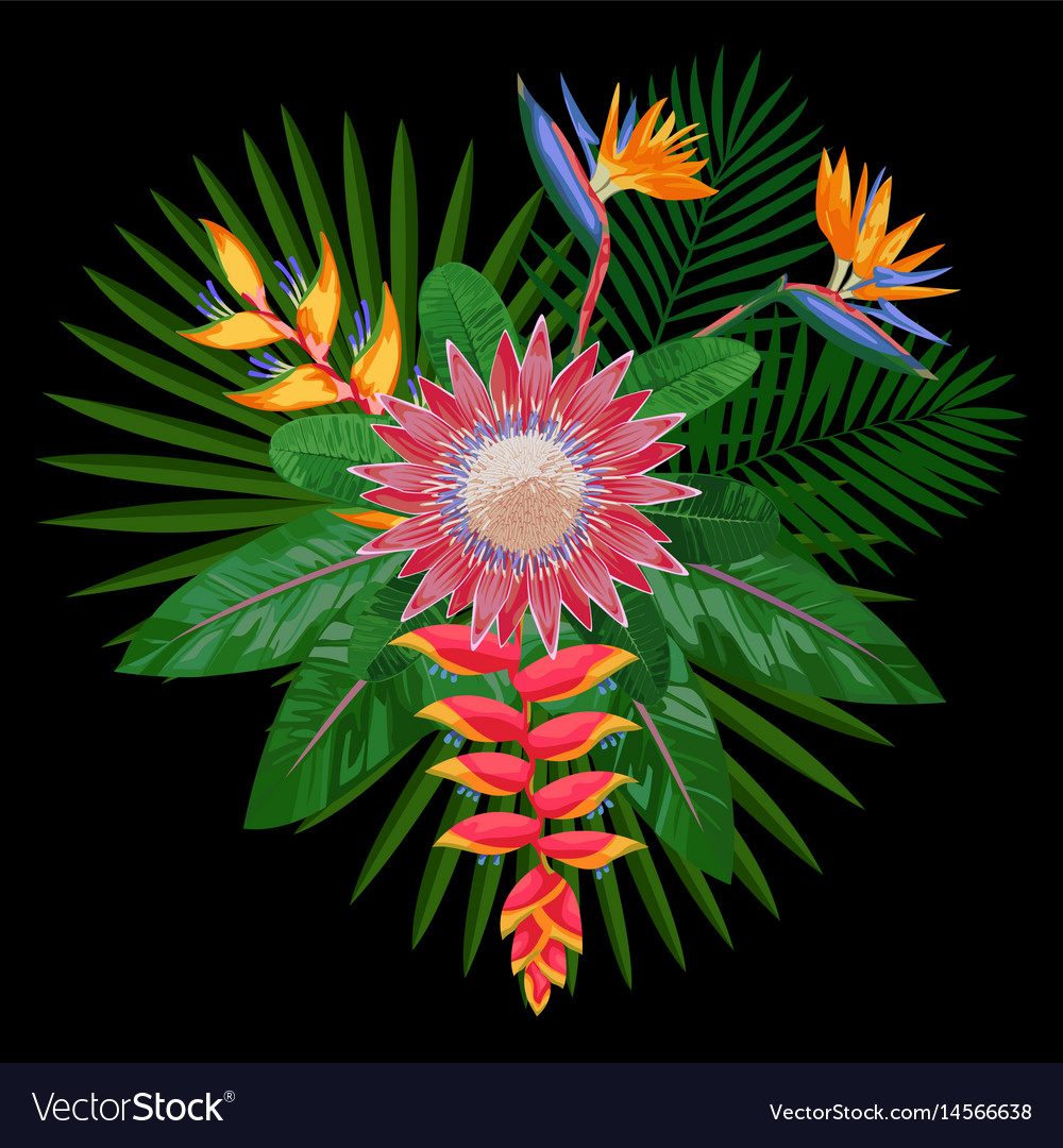 Tropical bouquet composition with protea