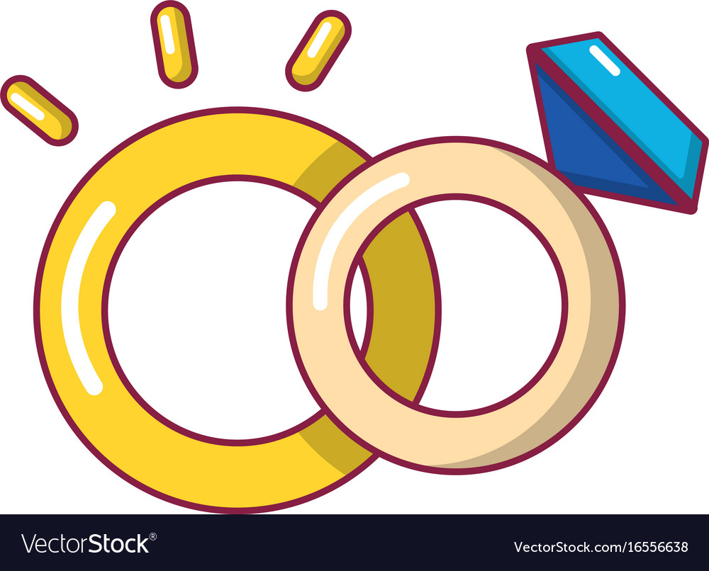 Wedding Rings Icon Cartoon Style Royalty Free Vector Image