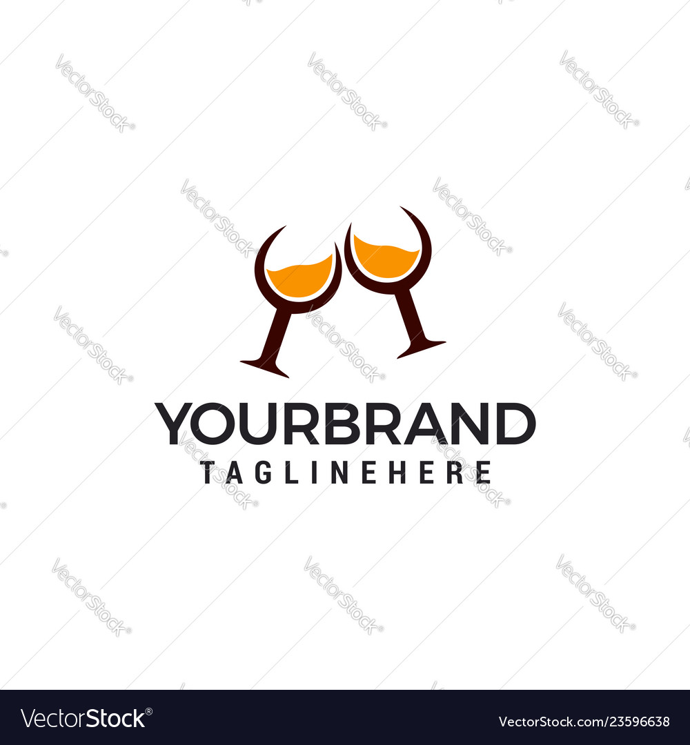 Whiskey glass logo design template elements
