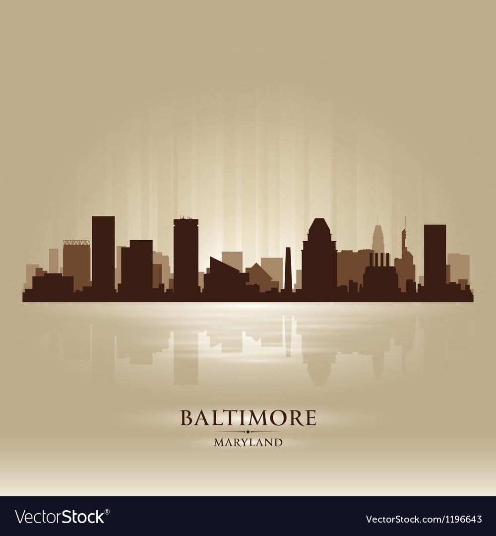 Baltimore Maryland skyline city silhouette vector image