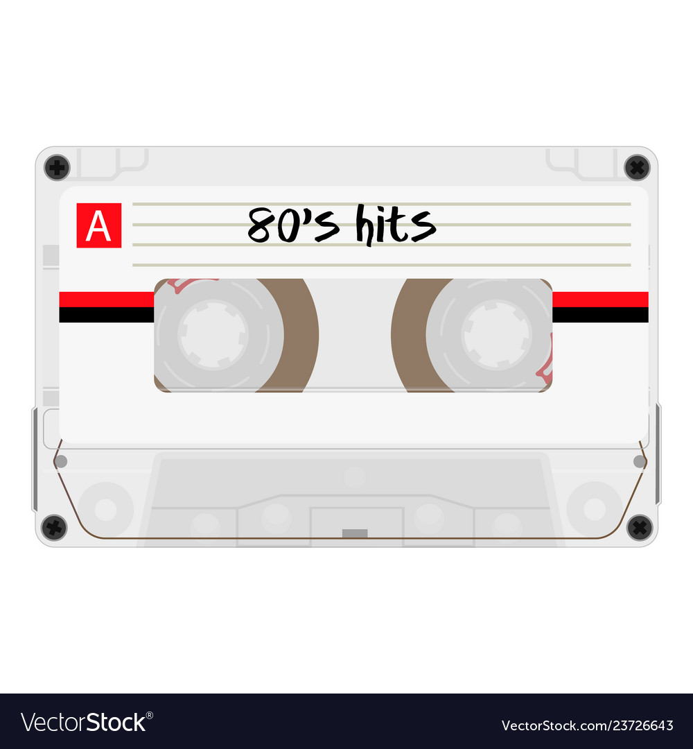 Cassette with retro label as vintage object for