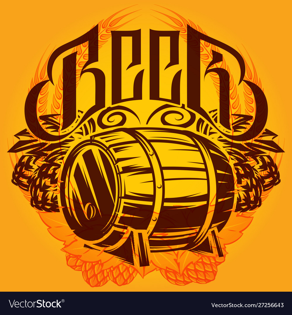 Color template on alcohol theme with a barrel