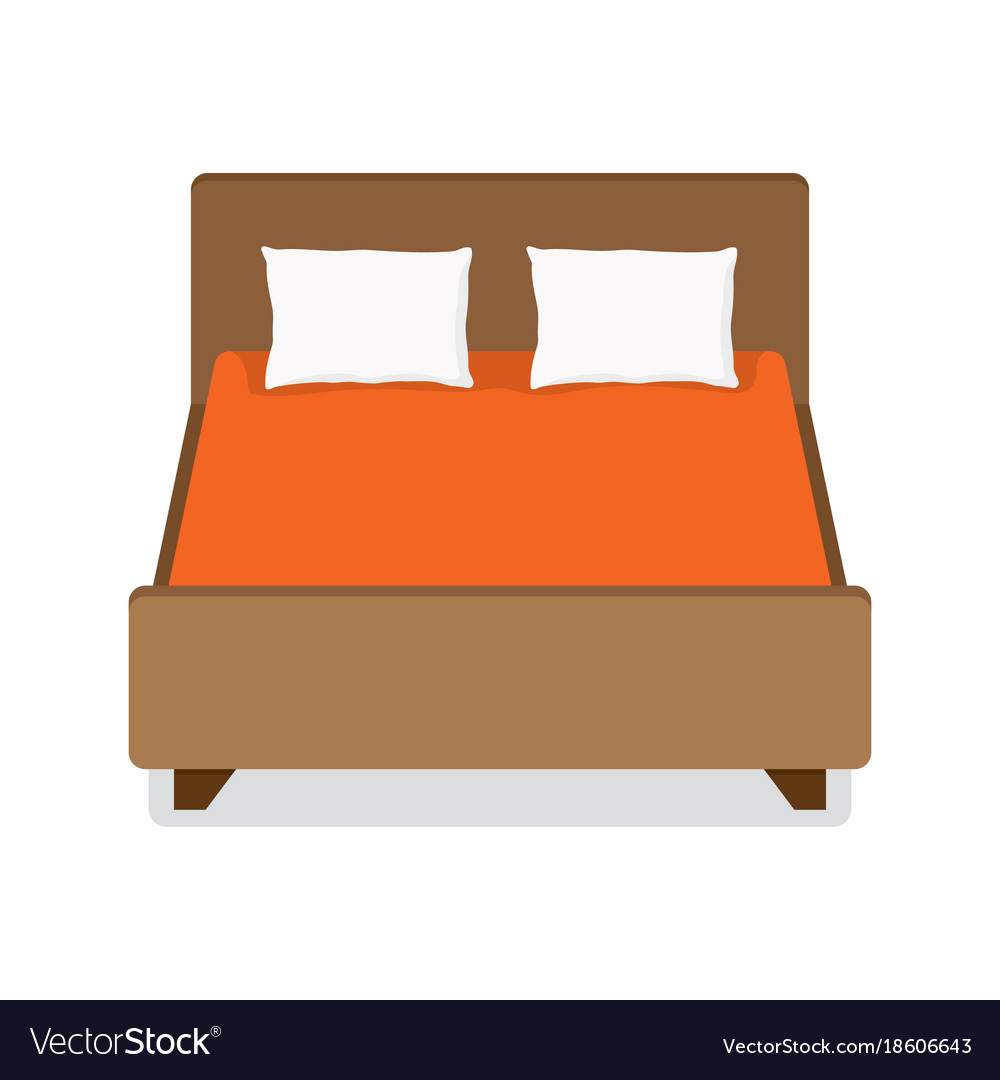 Double bed with pillow and blanket