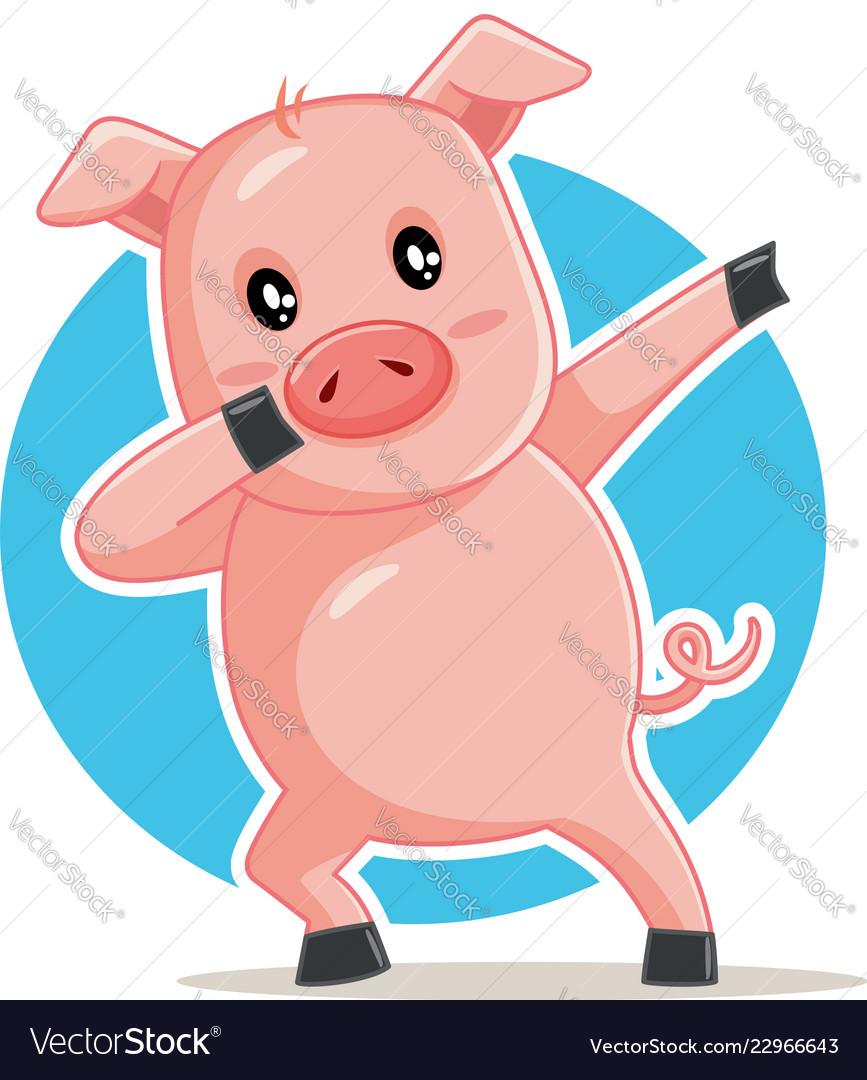Funny dabbing pig cartoon