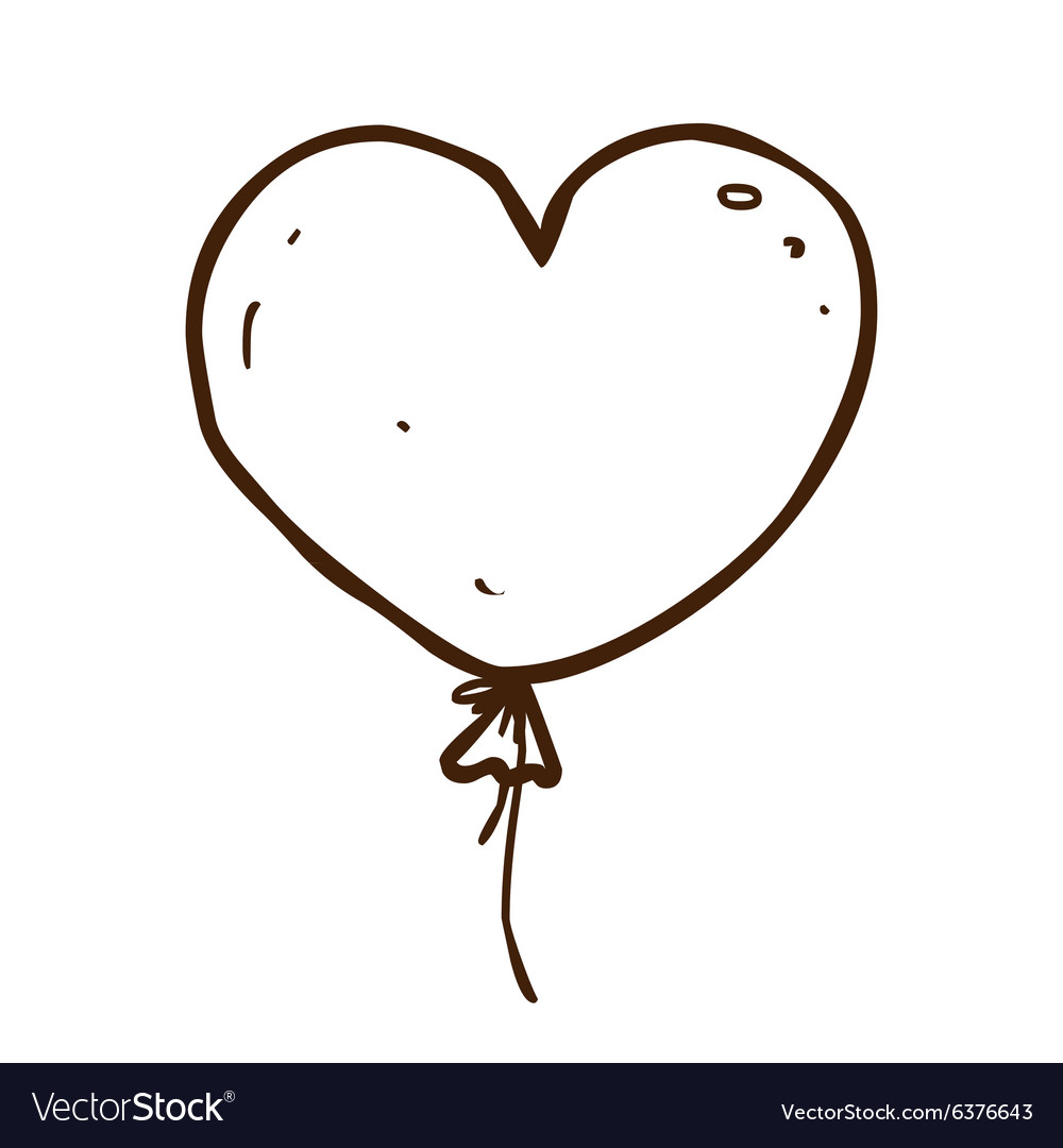 Hand drawn love heart balloon vector image