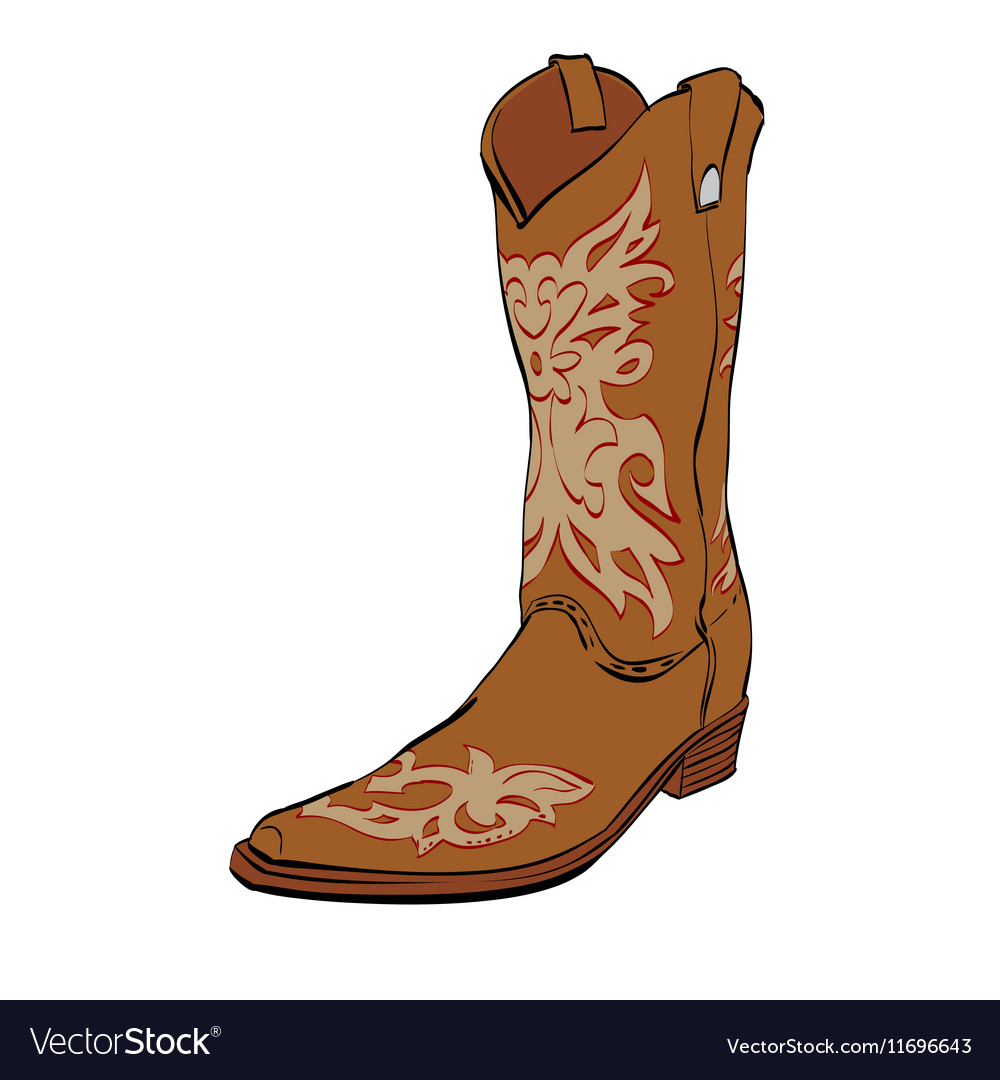 Leather cowboy boots vector image