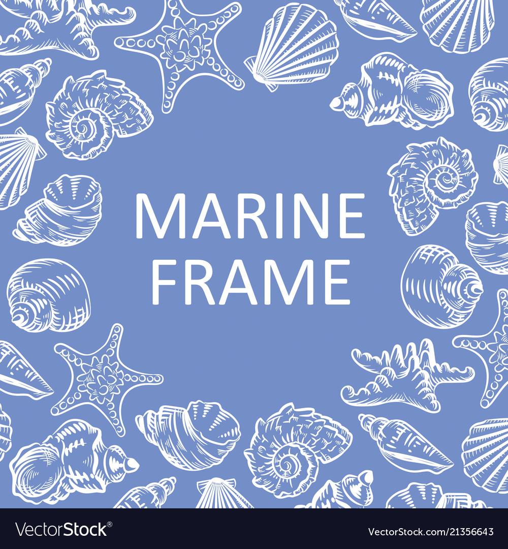 Marine frame seashells hand drawn sketch style