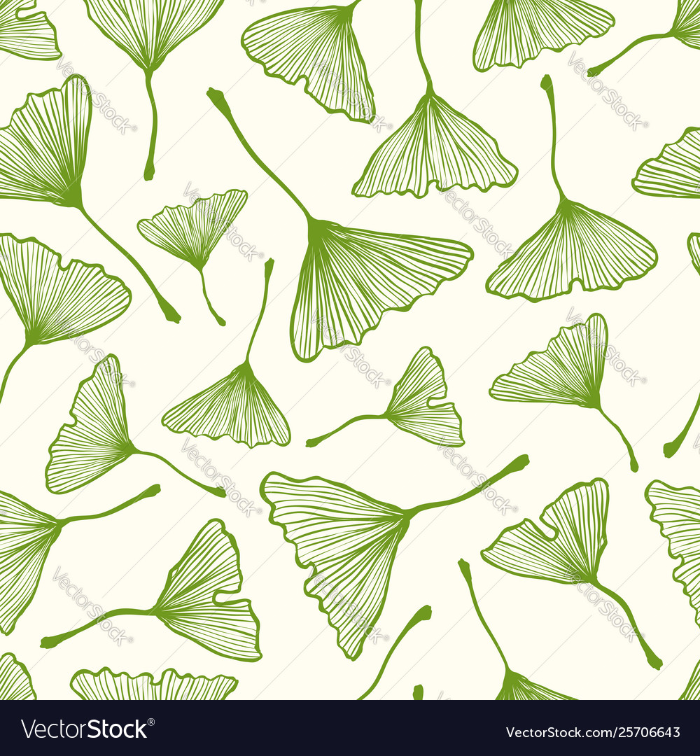 Pattern with ginkgo biloba leaves