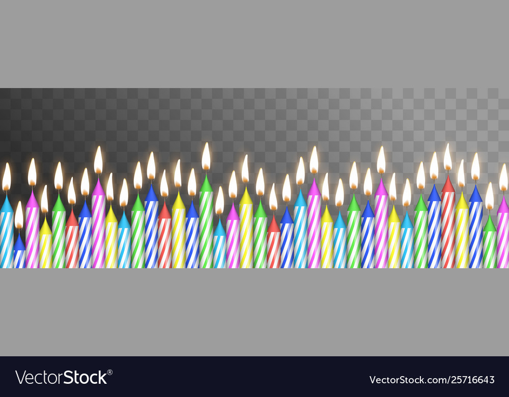 Realistic detailed 3d birthday cake color candles