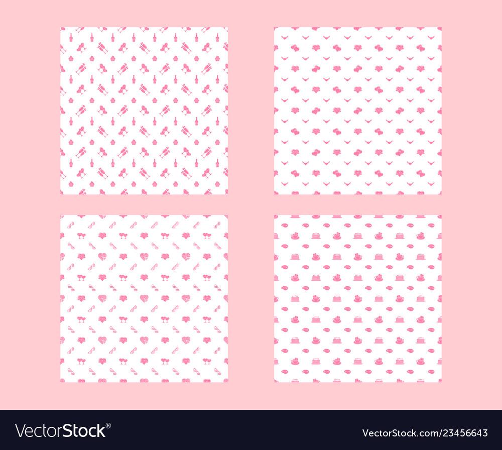 Set valentines day seamless patterns texture