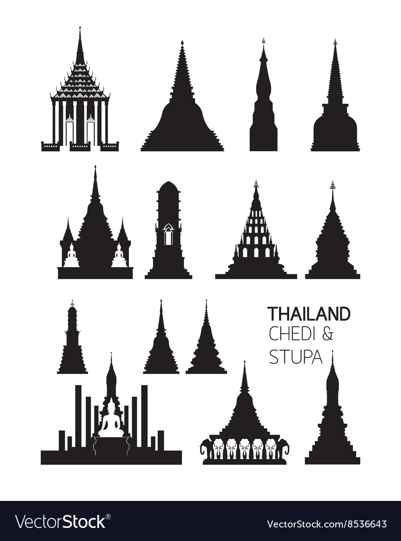 Thailand Buddhist Pagodas Objects Silhouette Set Vector Image