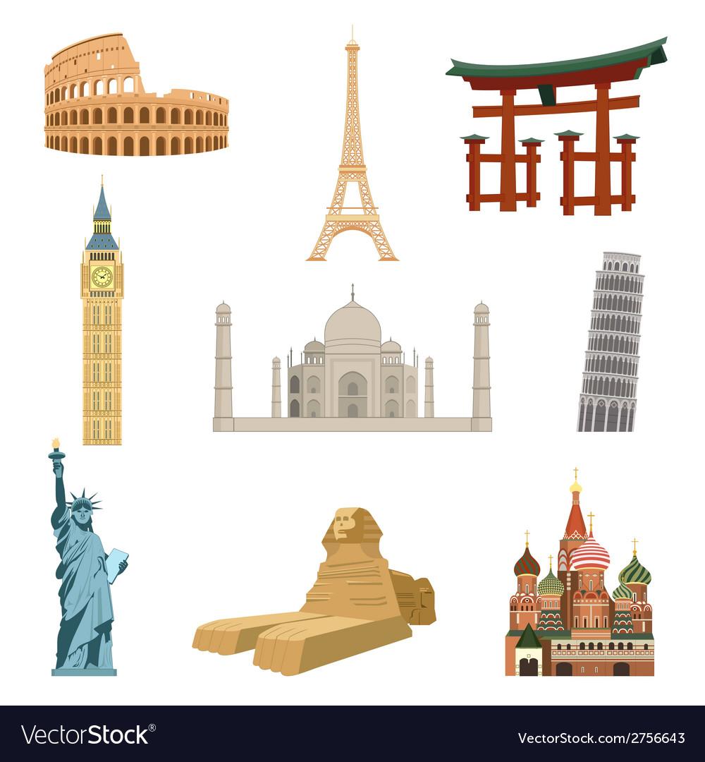 World famous landmarks vector image