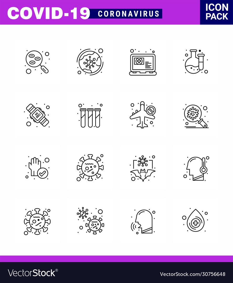 16 line viral virus corona icon pack