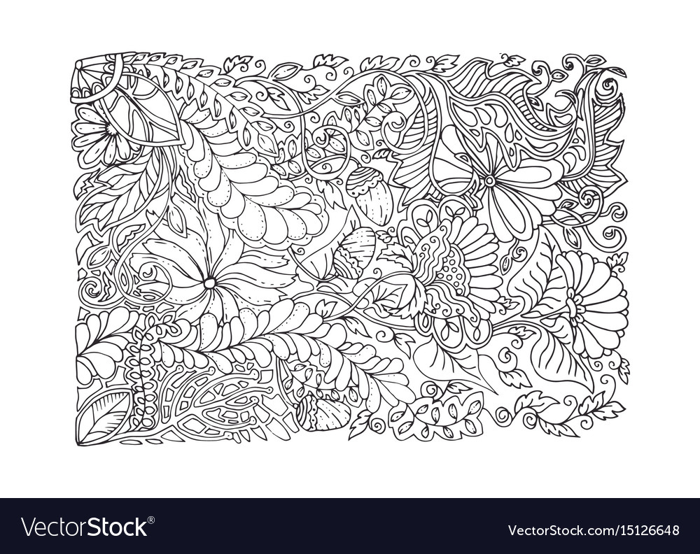 Adult coloring page spring design