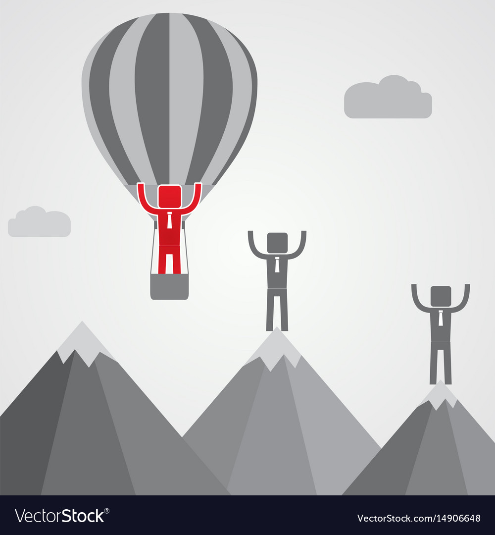 Businessman in balloon fly pass his competitor vector image