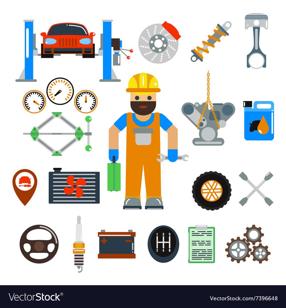 Car service repair icons set