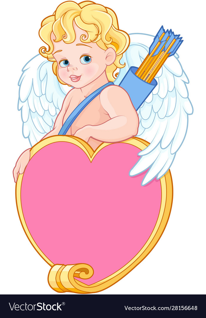 Cupid with bow and arrow holds heard