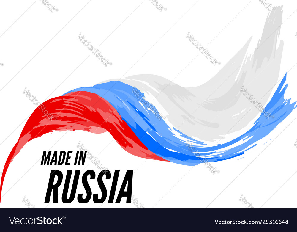 Flag russia with inscription is made in