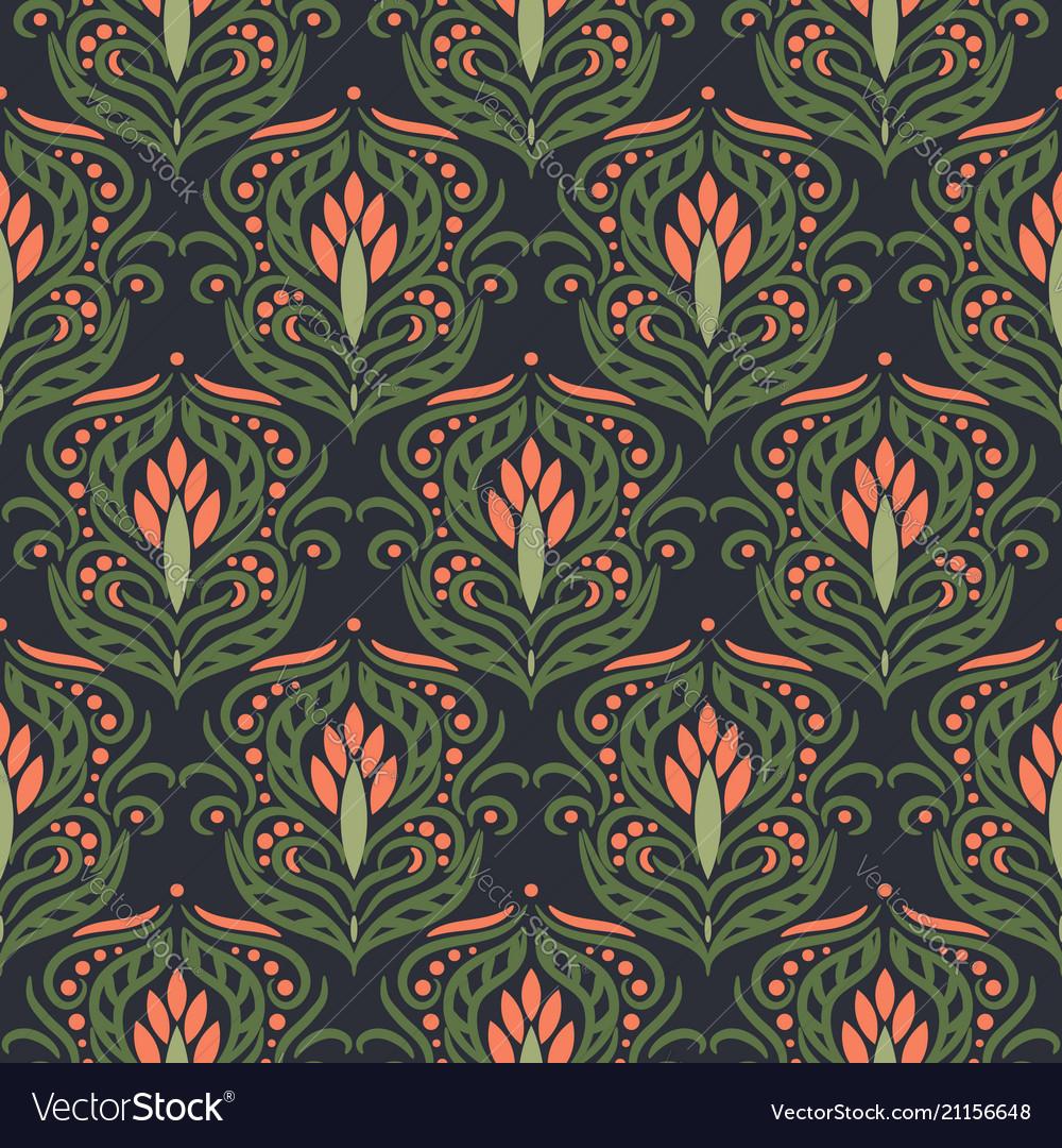 Floral damask green seamless pattern