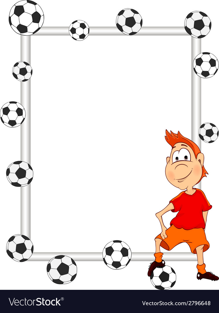 Frame with a soccer player cartoon Royalty Free Vector Image