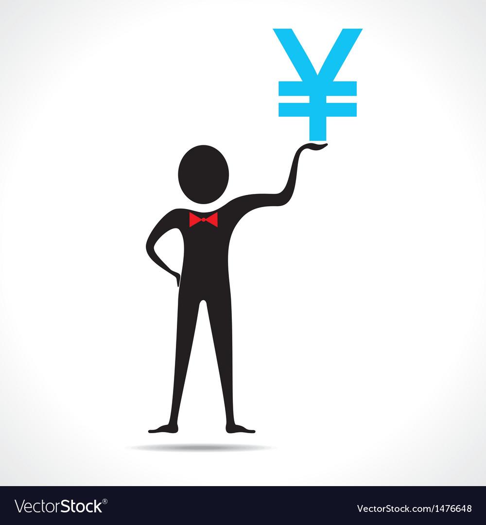 Man holding yen symbol